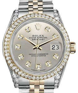 Rolex Stainless Steel And Gold 36Mm Datejust Watch Silver Diamond Dial