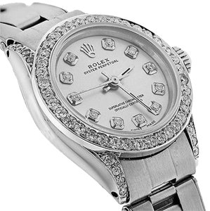 Rolex Ladies Diamond Oyster Band Silver Diamond Dial 26mm Automatic Watch