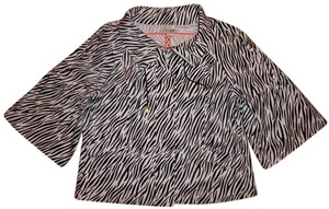 Just B Zebra Striped Zippered 3/4 Sleeves Black, White Jacket
