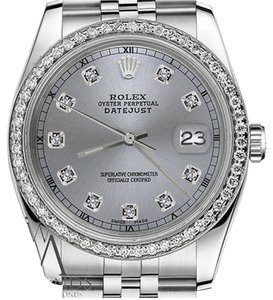 Rolex Mens 36mm Datejust Grey Color Dial With Diamond Accent Rt Watch