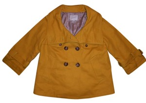 Ann Taylor LOFT Double Breasted Thick Mustard Yellow Jacket