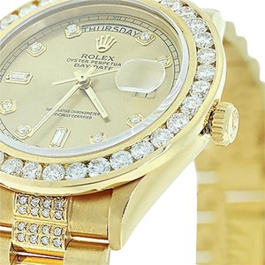 Other Mens Used Rolex President Gold Day-date 18038 Diamond Bracelet Dial