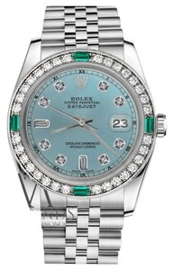 Rolex 36mm Datejust Ice Blue Color Dial Emerald Diamond Accent RT Watch