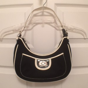 Isabella Fiore Canvas Patent Leather Leather Black Hobo Bag