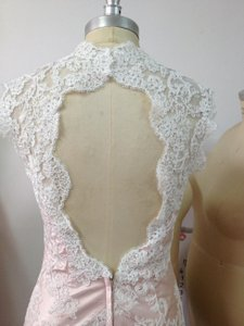 Ivory / Rose Quartz Lace All Open Low Keyhole Back Never Worn) /4 Sexy Wedding Dress Size 2 (XS)
