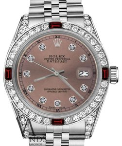 Rolex Women's Rolex 31mm Datejust Salmon Color Dial with Ruby & Diamond Accent RTWatch