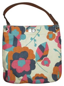 Fossil Leather Burlap Floral Shoulder Bag