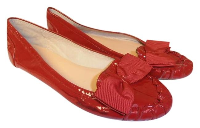 Item - Red W New York 8m Patent Leather W/Bow Flats Size US 8 Regular (M, B)