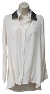 Derek Lam Silk Double Collar Top Cream/Black
