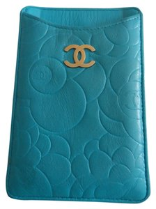 Chanel Chanel Wallet Cell Phone iPhone Business Credit Card Case Holder Blue Lambskin Quilted Leather Camellia Flower Silver Hardware SHW CC Logo WOC Mini 12P