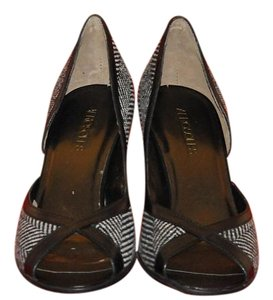 Aerosoles Herringbone Heel Leather Trim New Black & Gray Pumps