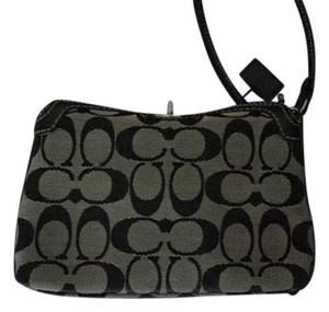 Coach Black and Gray Monogram Clutch