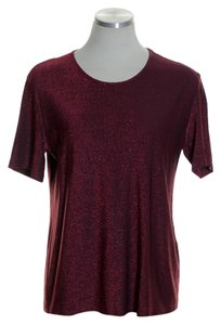 Escada Knit Stretch Metallic T Shirt Red