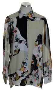 3.1 Phillip Lim for Target Woven Long Sleeve Floral Button Down Shirt Beige