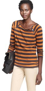 J.Crew Striped 3/4 Sleeve Knit T Shirt Brown