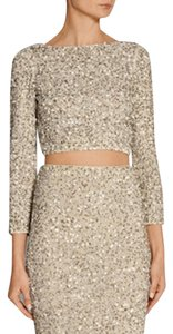 Alice + Olivia + Sequin Pencil Skirt beige & silver