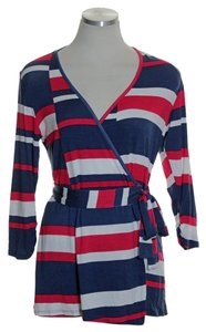Boston Proper Striped Knit 3/4 Sleeve Faux Wrap Stretch Top Red Blue