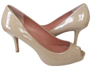 Vince Camuto Open Toe Peep Toe Nude Patent Leather Office Beige Pumps