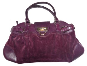 Salvatore Ferragamo Gold Hardware Ruched/pleated Body Xl Size- Very Roomy Huge Gancini Clasp Bowling Accents Satchel in deep purple
