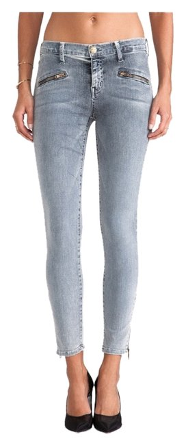 Item - Bleach Out Navy Light Wash Soho Zip Stiletto Skinny Capri/Cropped Jeans Size 24 (0, XS)