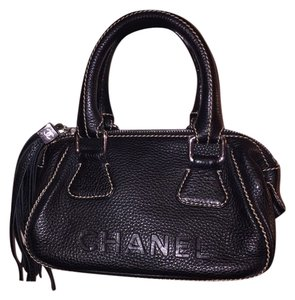 Chanel Lax Tote Tassle Satchel in black