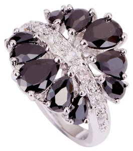 Independent Clothing Co. Silver Set Black Pear Cut Spinel & White Topaz Ring ~ Sz 7