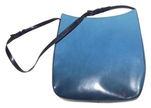 Prada Mint Vintage Two Strap Lengths Graduated High-end Bohemia Tote in shades of blue- dark midnight blue to light sky blue