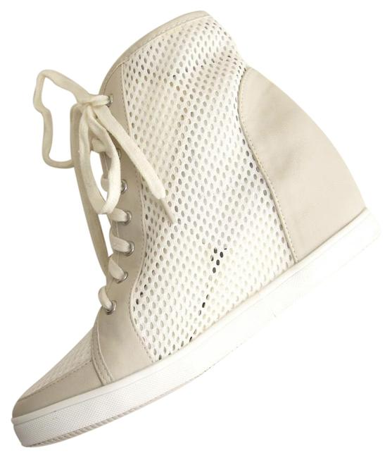 Item - White Mesh Ankle Shalft Lace Up Sneaker Wedges Size US 7 Regular (M, B)