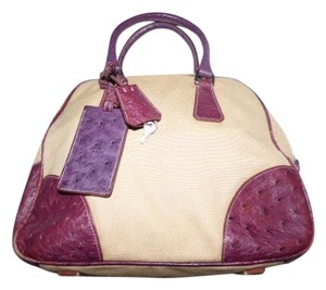 Prada Mint Vintage High-end Bohemia Satchel in beige canvas and purple ostrich leather
