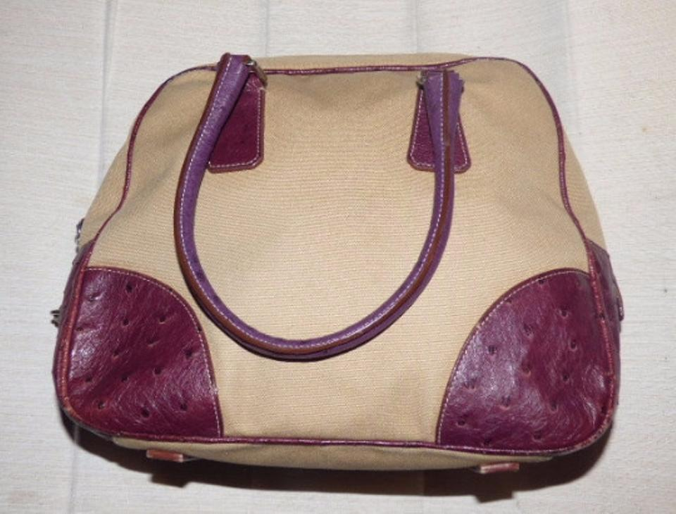 prada small nylon backpack - Prada Vintage /designer Beige Canvas And Purple Ostrich Leather ...