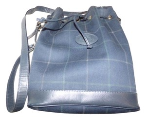 Burberry Rare Print Mint Vintage And Wallet Set Drawstring Top New Old Stock Wallet Satchel in Blue, Red, White, & Tan plaid