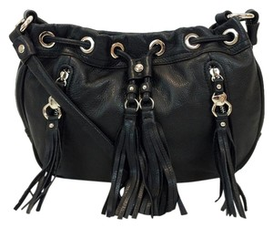 B. Makowsky Leather Dakota Fringe Tassels Cross Body Bag