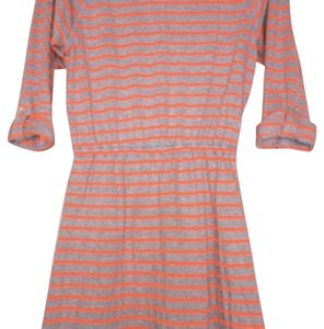 Express short dress Grey with neon orange stripes on Tradesy