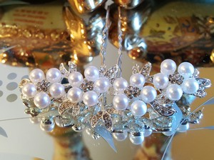 Bridal Hair Pins White Pearls Austrian Crystal Silver Plated