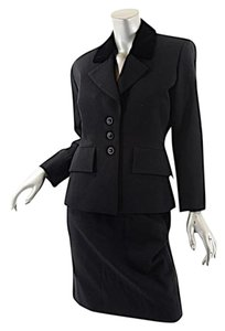 Saint Laurent Yves Saint Laurent Vintage Black Wool Skirt Suit w/Velvet Trim - Sz 36/38-US 6/8