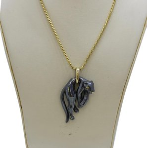Cartier Vintage French Cartier Hematite Panther Pendant with 18K Gold Cartier Necklace