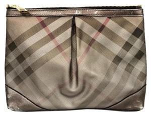 Burberry Metal Pouch Westchester Plaid Pvc Silver Check Clutch
