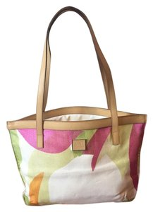 Versace Jeans Collection Vjc Tote in pink, green, orange, and beige