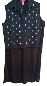 Charlotte Russe Cross Silver Studded New Top black