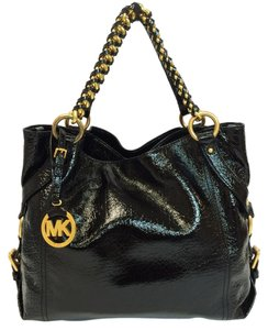 Michael Kors Tristan Chain Strap Large Glazed Leather Satchel in Black