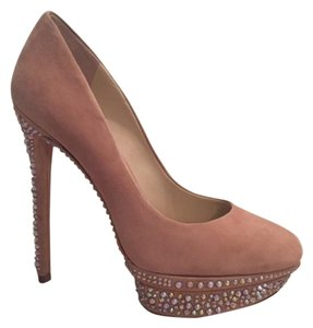 B Brian Atwood Never Worn Cyrtsal Suede NUDE Platforms