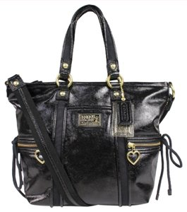 Coach Stylish Patent Leather Satchel in Black