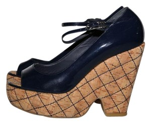 Chanel Navy blue Wedges