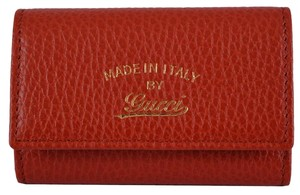 Gucci NEW Gucci Women's 354499 Red Leather Trademark Logo Swing Key Chain Case
