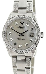 Rolex ROLEX DATE 34MM 4.8CT FULL DIAMOND WATCH WITH ROLEX BOX & APPRAISAL