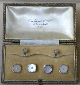 Antique Formal Dress Button & Stud Set Mother Of Pearl White Gold