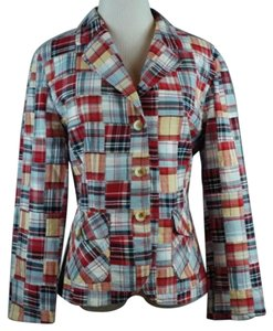 Pendleton Madras Plaid Jacket Blazer Red Blue Coat