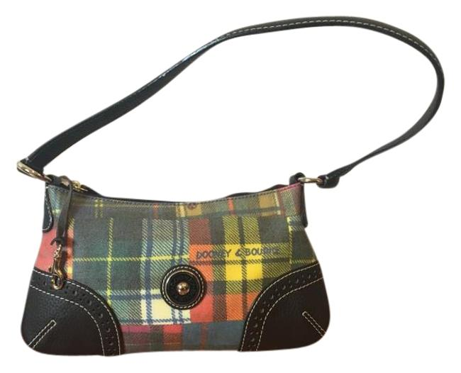 Item - Yellow Blue Orange and Brown Plaid Leather Baguette