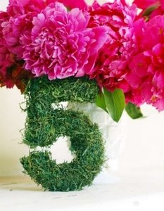 Green Pot Green Moss Green Leaves White Flowers and Light Blue Flowers 8 Lovely Table Numbers Reception Decoration