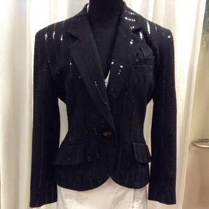 Lillie Rubin Sequin Wool Vintage Black Blazer
